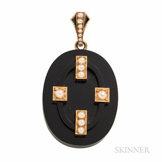 Victorian Gold, Onyx, and Split Pearl Locket, lg. 2 1/4 in.