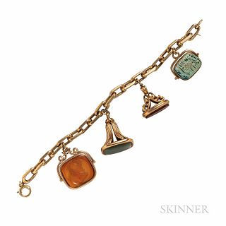 Gold and Hardstone Watch Fob Bracelet, with one faience swivel seal, 39.0 dwt, lg. 7 1/2 in.