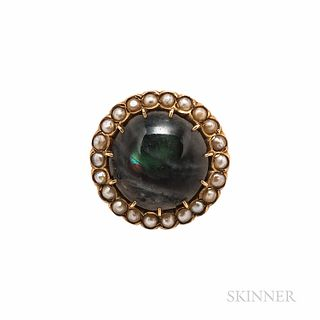 Antique Gold and Labradorite Brooch, framed by split pearls, 4.1 dwt, dia. 15/16 in.