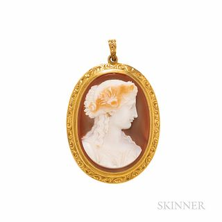 Antique Gold and Hardstone Cameo Pendant, depicting a maiden wearing a garland of flowers, engraved frame, 2 x 1 3/8 in.