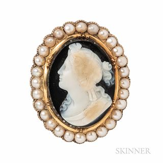 Antique Gold and Hardstone Cameo Brooch, depicting a bacchante, framed by split pearls, reverse with hair compartment, 1 1/2 x 1 3/16 i