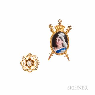 Antique 18kt Gold and Enamel Stickpin Depicting Queen Victoria, after the photograph by Alexander Bassano, and likely for a Jubilee cel