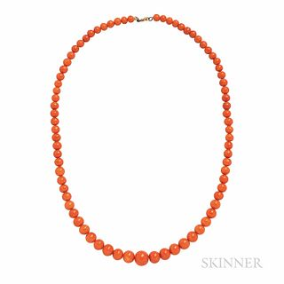 Antique Coral Bead Necklace, the beads graduating in size from approx. 4.70 to 8.30 mm, lg. 14 1/2 in.