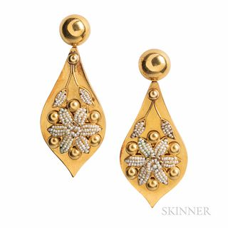 Gold and Seed Pearl Earrings, composed of antique elements, the large drops with seed pearl flowers, 22.8 dwt, lg. 2 3/4 in.