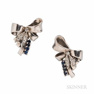 Retro 14kt White Gold, Sapphire, and Diamond Bow Earclips, set with full- and single-cut diamonds and circular-cut sapphires, 7.1 dwt,
