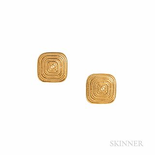 14kt Gold Earrings, designed as pyramids, 3.4 dwt, lg. 1/2 in.