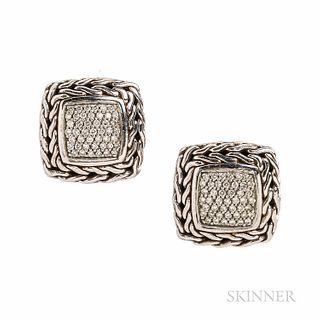 """John Hardy Sterling Silver and 18kt Gold """"Classic Chain"""" Earrings, with pave-set diamonds, 11/16 in., signed."""
