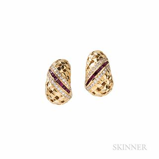 """Tiffany & Co. 18kt Gold, Ruby, and Diamond """"Vannerie"""" Earclips, with channel-set rubies and full-cut diamonds, 11.6 dwt, lg. 7/8 in., s"""
