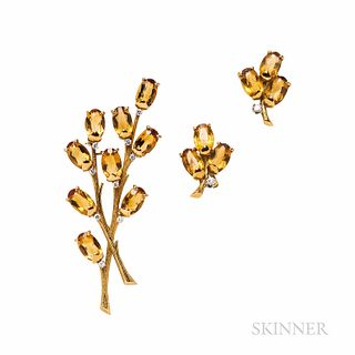 Krementz & Co. 18kt Gold, Citrine, and Diamond Brooch and Earclips, set with oval-cut citrines and full-cut diamond melee, 13.7 dwt, lg