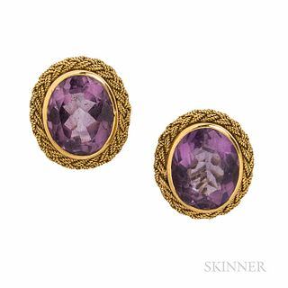 18kt Gold and Amethyst Earclips, 7.9 dwt, lg. 3/4 in.