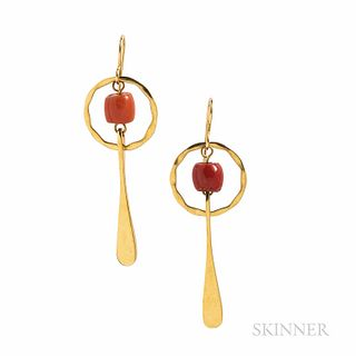 Robert Lee Morris 18kt Gold and Coral Earrings, 3.3 dwt, lg. 1 15/16 in., signed, with pouch.