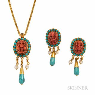 High-karat Gold and Coral Earrings and Pendant, each depicting a deity, possibly Ganesha, framed by turquoise, pearl drops, and chain,
