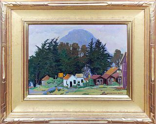 """JESSIE ARMS BOTKE, """"Cabins Morro Bay,"""" Oil on panel"""