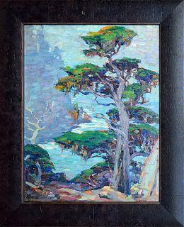 """CORNELIS BOTKE, """"Cypress,"""" Oil on panel"""