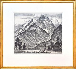 "CORNELIS BOTKE, ""The Grand Tetons,"" Etching on paper"