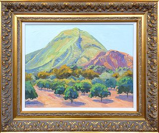 """RAY CUEVAS, """"Hill and Grove, Fillmore,"""" Oil on panel"""