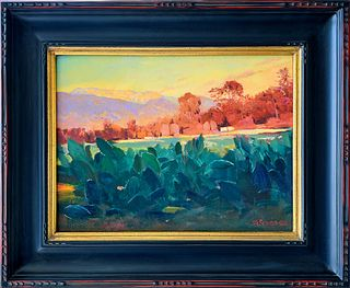 "VICTOR SCHIRO, ""Ojai Cactus Farm Vista,"" Oil on canvas"