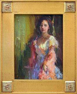 """ANNIE HOFFMAN, """"The Spanish Shawl,"""" Oil on panel"""