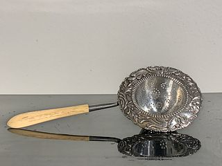 Chinese Export Silver Tea Strainer with Bone Handle