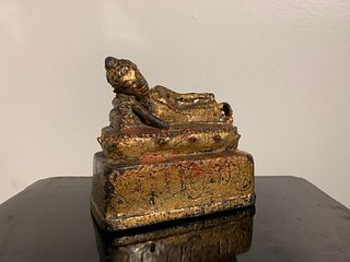 Thai Lanna Gilt Bronze Reclining Buddha, 16th Century