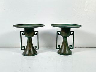Pair Japanese Bronze Vases for Ikebana, Showa Era, Mid-20th Century