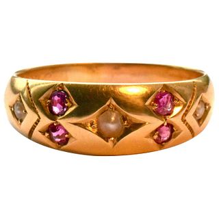 HM 1876 GOLD GYPSY RING W RUBIES AND PEARLS
