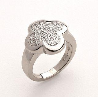 Van Cleef & Arpels 'Alhambra' Gold & Diamond Ring