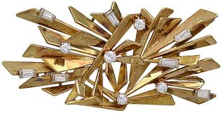 Alfred Karram Jr Gold and Diamond Brooch