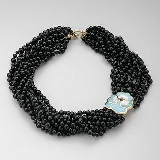Tiffany & Co. Multi-strand Onyx Beaded Necklace