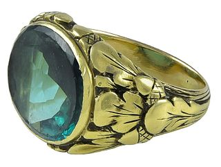 American Arts & Crafts Period Ring by the Oakes Studios with Tourmaline