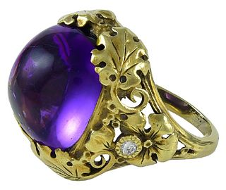 American Arts & Crafts Period  Ring By the Oakes Studios  Amethyst & Diamonds