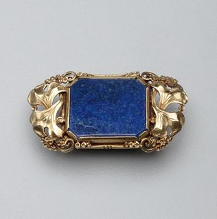 American Arts & Crafts Lapis Brooch by The Oakes Studio
