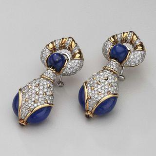Harry Winston Lapis, Diamond Ruby 18kt White & Yellow Gold Earrings