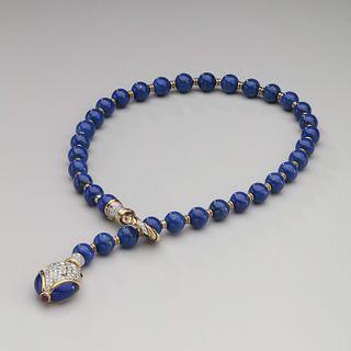 Harry Winston Lapis, Diamond 18kt White & Yellow Gold Snake Necklace