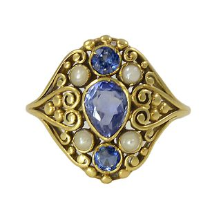 Frank G. Hale 18Kt gold ring with Montana Sapphires and Pearls