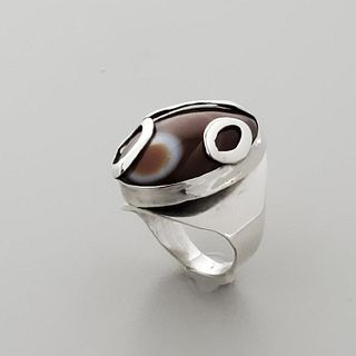 Art Smith Sterling SIlver & Agate Ring