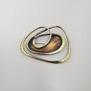Art Smith Large Brass Brooch