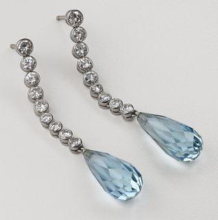 Aquamarine & Briolette Diamond Platinum Earrings