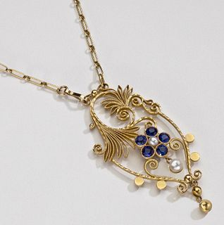 Georg Jensen Gold Necklace No. 25 with Sapphires and Pear