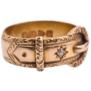 HM 1899 18K GOLD  BUCKLE RING WITH DIAMONDS AND ORNATE BORDER