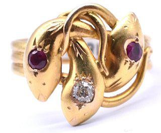 C1870 18K GOLD 3 HEADED SNAKE RING W RUBIES & DIAMONDS
