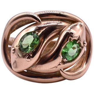 HM CHESTER 1909 9K GOLD DOUBLE SNAKE RING WITH GREEN GARNET EYES