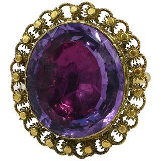15 Karat c 1850 Victorian Amethyst Cannetille Ring