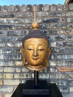 Shan Burmese Gilt Lacquer Buddha Head, Early 20th Century