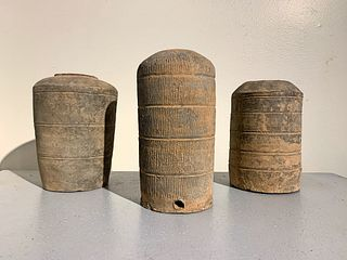 3 Han Dynasty Gray Pottery Granaries