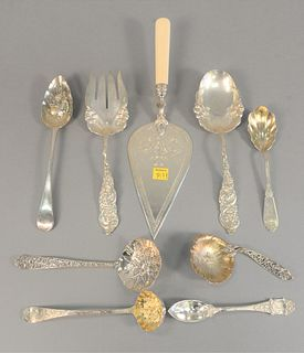 Sterling silver lot of serving spoons and forks, 22 t.oz.