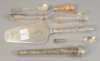 Japanese silver lot to include server, tongs and spoons, one seal along with umbrella handle, 13.5 t.oz.