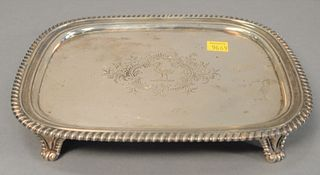 Georgian silver footed tray, marked with 'W.B.' (William Bateman?), 14.6 t.oz.