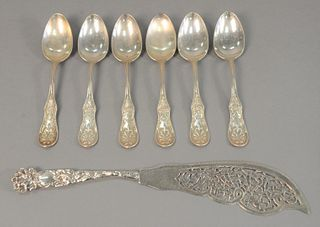 Six Tiffany & Co. tablespoons, along with large reticulated fish slicer, 13.7 t.oz.