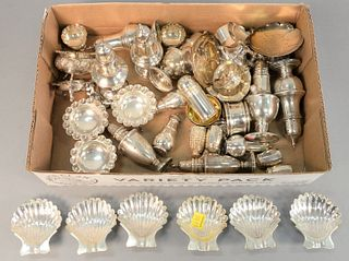Sterling silver lot to include salts, pepper shakers and nut dishes, 49.1 t.oz.